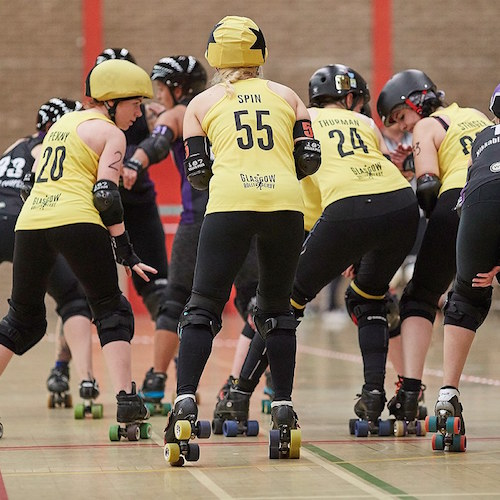 Spin Diesel on the jam line while our blockers are ready for the Hereford jammer; photo courtesy of Roller Derby on Film.