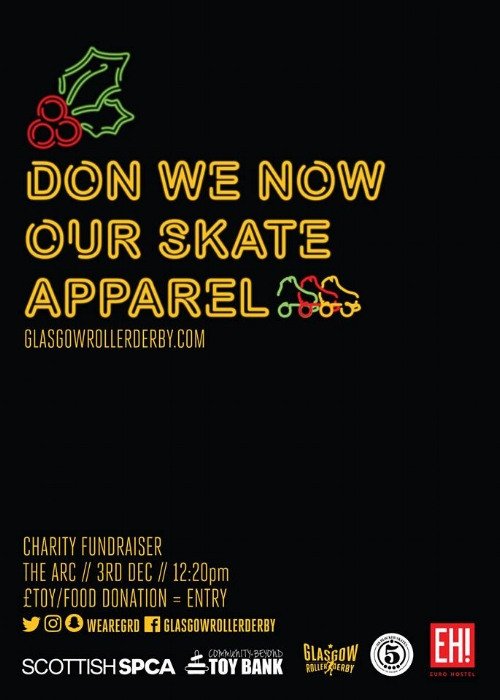 Don We Now Our Skate Apparel event poster.