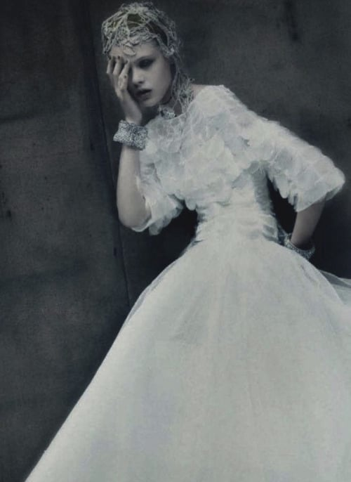 romanticnaturalism: Damsel in distress, Frida Gustavsson in 'The Haute Couture' photographed by Paolo Roversi for the Couture supplement of Vogue Italia September 2011