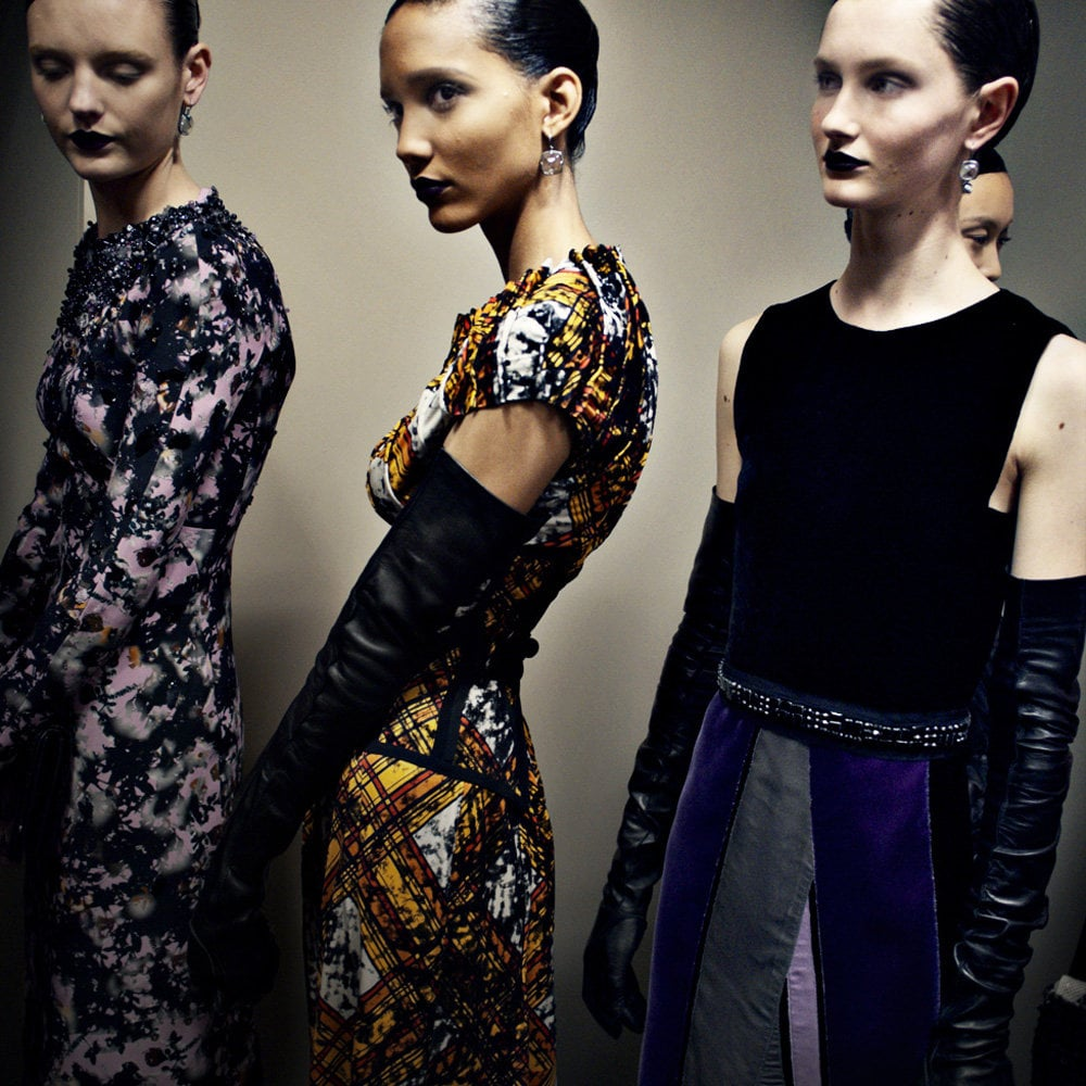 tmagazine: Luxe dresses and long gloves backstage at Bottega Veneta's A/W 2012 runway show. Fashion