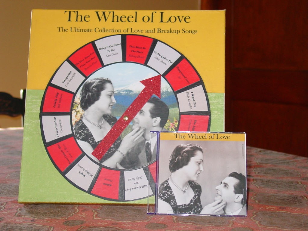 """Amy Hitchcock: The Wheel of Love: The Ultimate Collection of Love and Breakup Songs, 2013. Assemblage. Part of UFG's """"Album Covers"""" exhibition."""