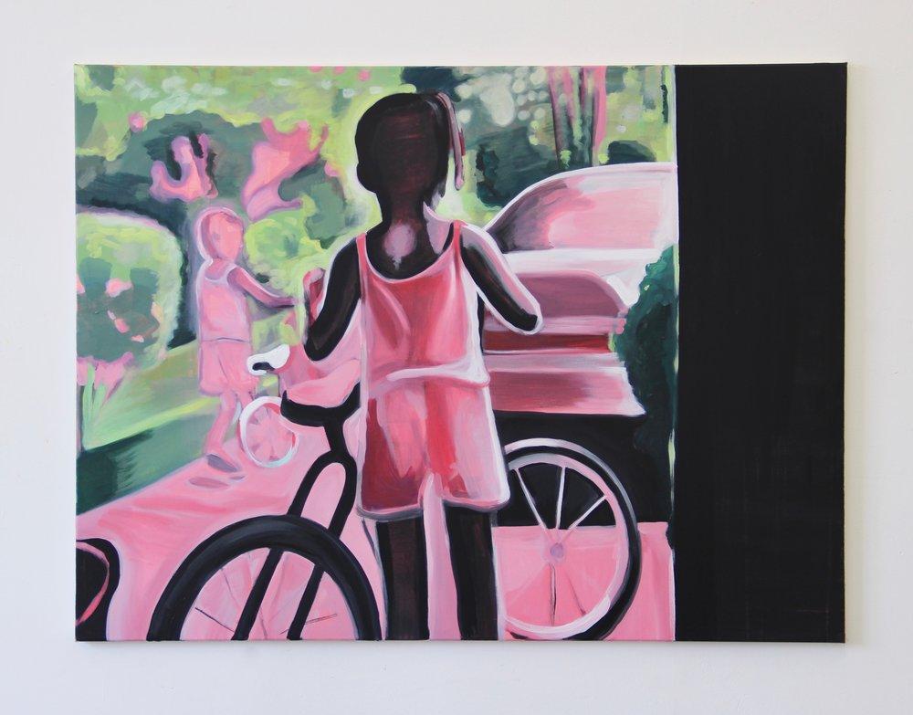 Biking , 2018 Acrylic on canvas 36 x 48 inches 91 x 122 cm