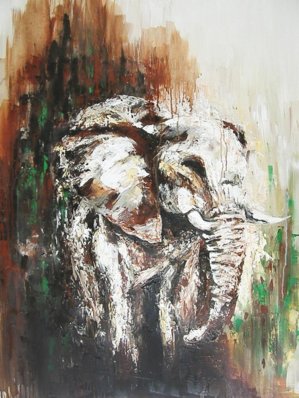 Elephant; Oil on Canvas
