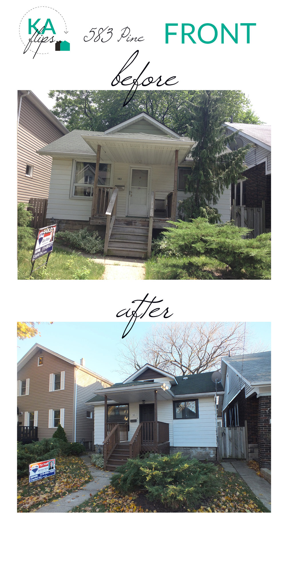 House Flip - Pine St - Front of Home - Before and After