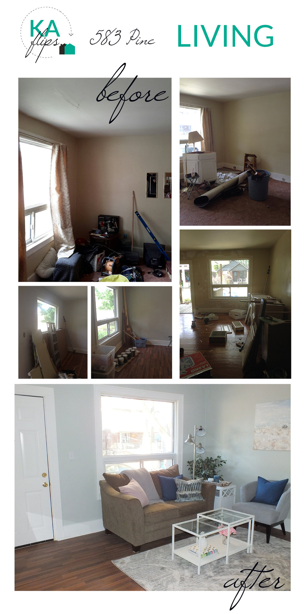 House Flip - Pine St - Living Room - Before and After