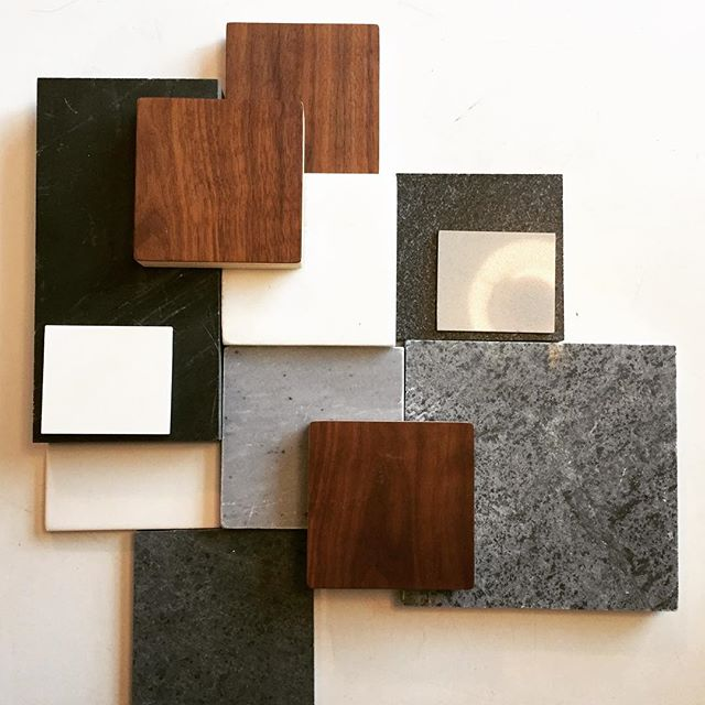 The start of a new project. Natural stone + walnut. #interiordesign #designer #kitchendesign #marble #soapstone #walnut #tile #granite #butcherblock #midcenturymodern #moderndesign