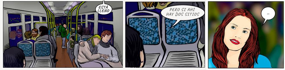 Aquí la decisión de sentarse juntos no la toman ellos, la toma el autobús.