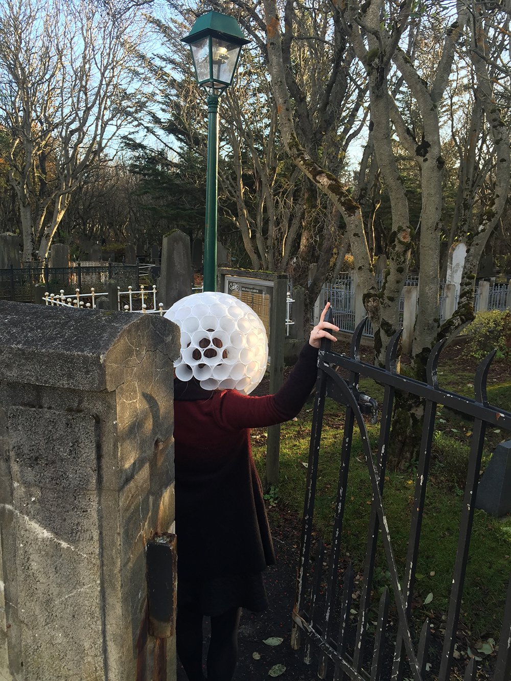Perfect spooky fence. Giant golf ball head.