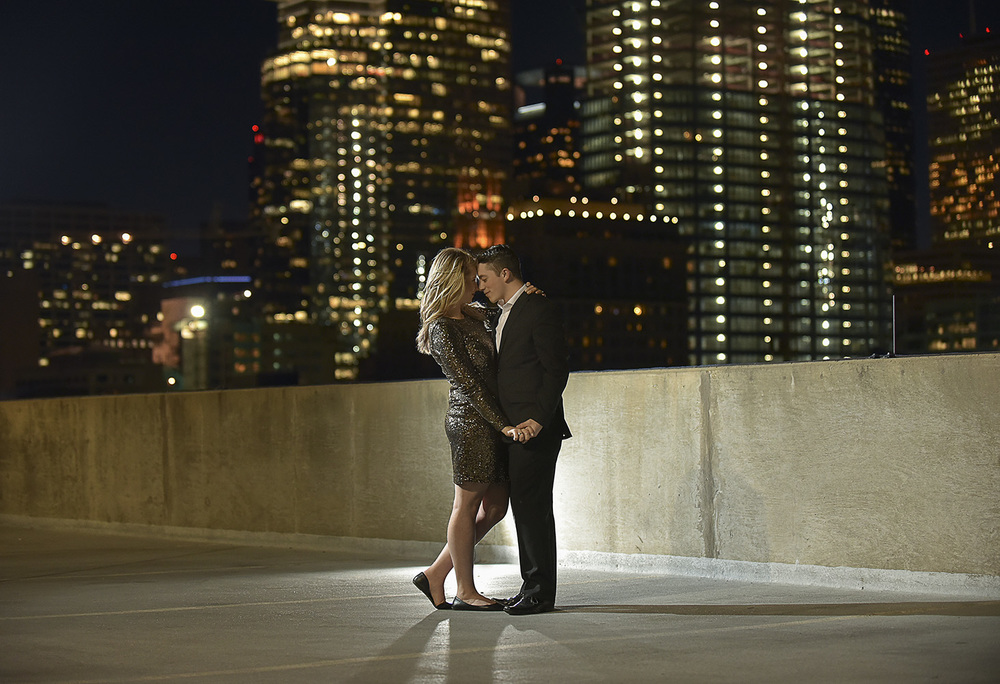 Downtown houston rooftop engagement