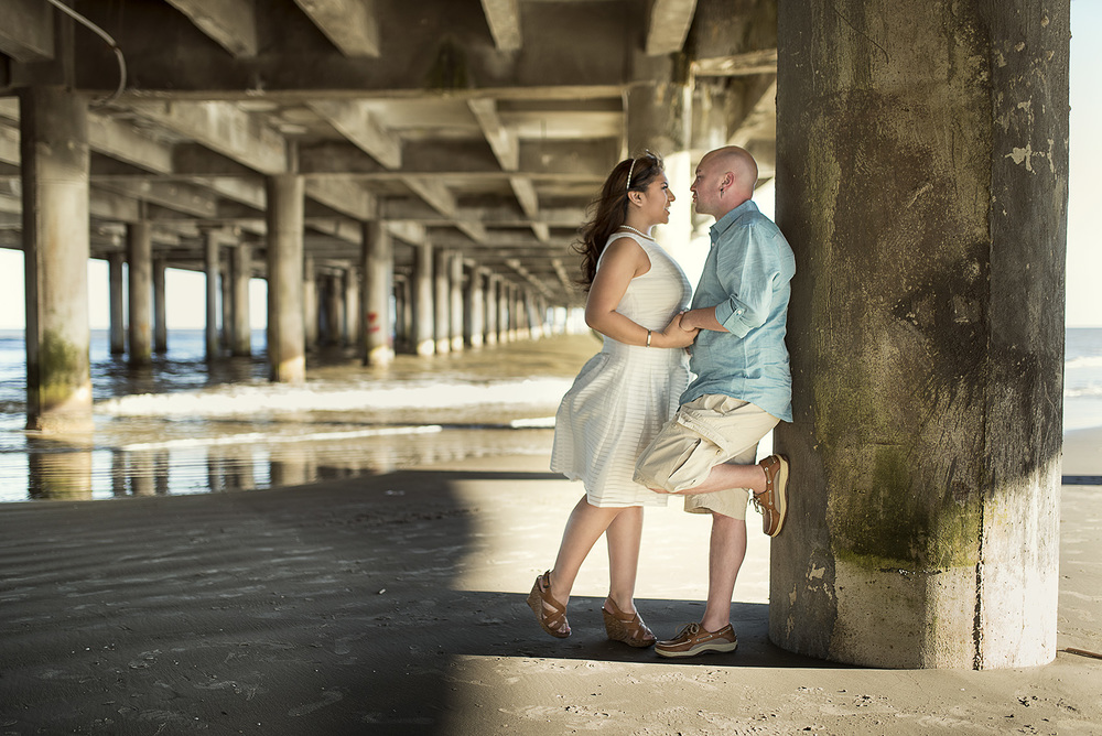 Galveston beach engagement photography