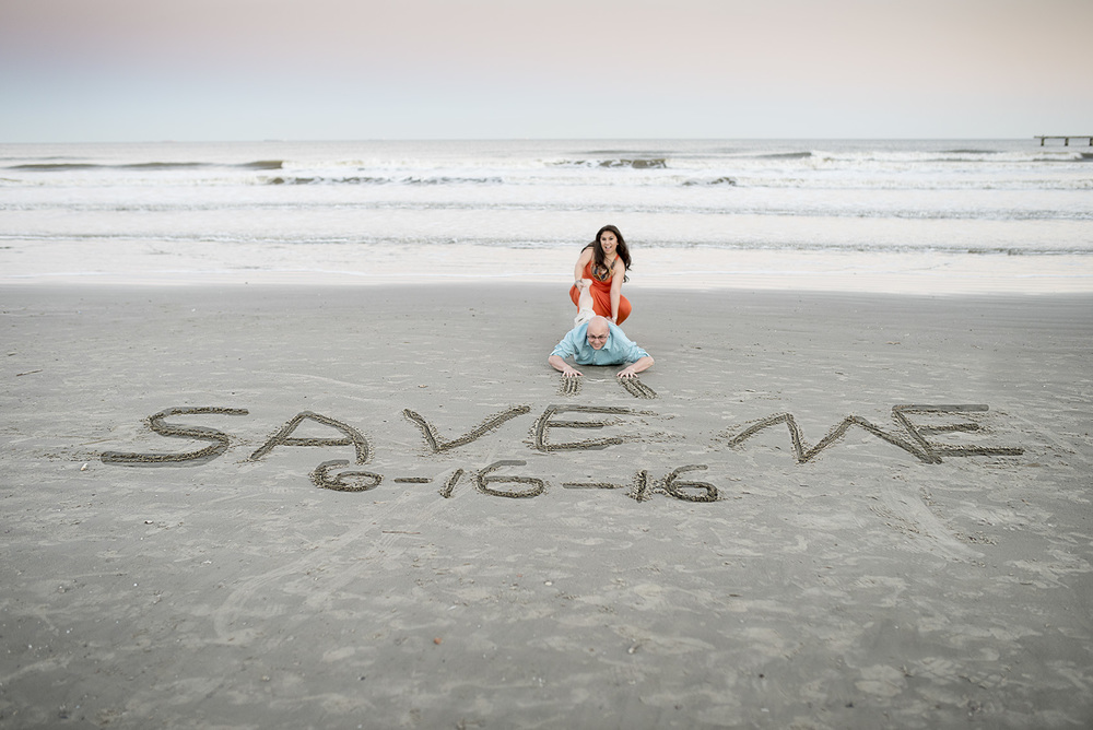 Galveston Beach enagement save the date