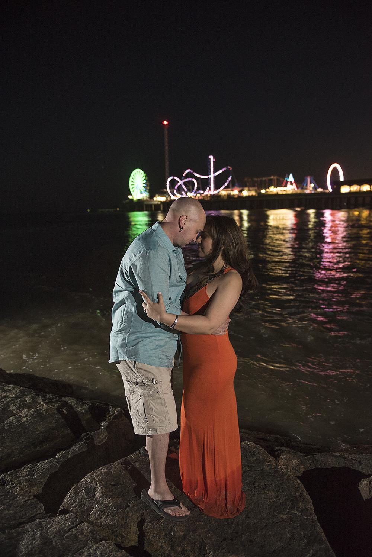 Galveston beach engagement night photo