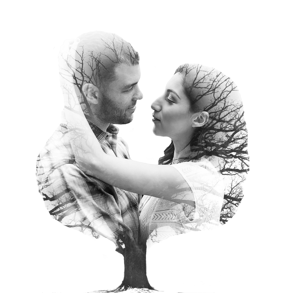 Sugar Land Engagement Photo double exposure