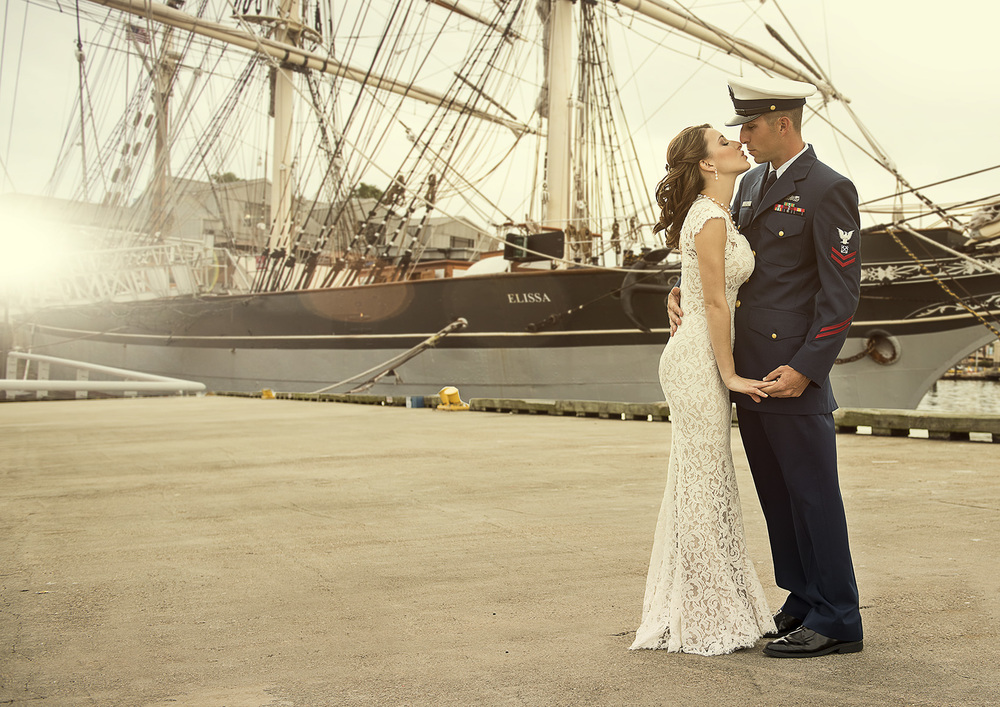 Galveston Modern Romantic Classy High Fashion Military Coastguard Wedding photography