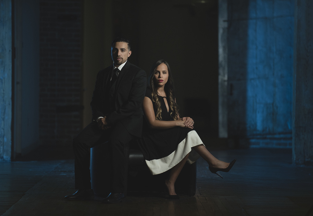 moody and dramatic lit houston engagement photo