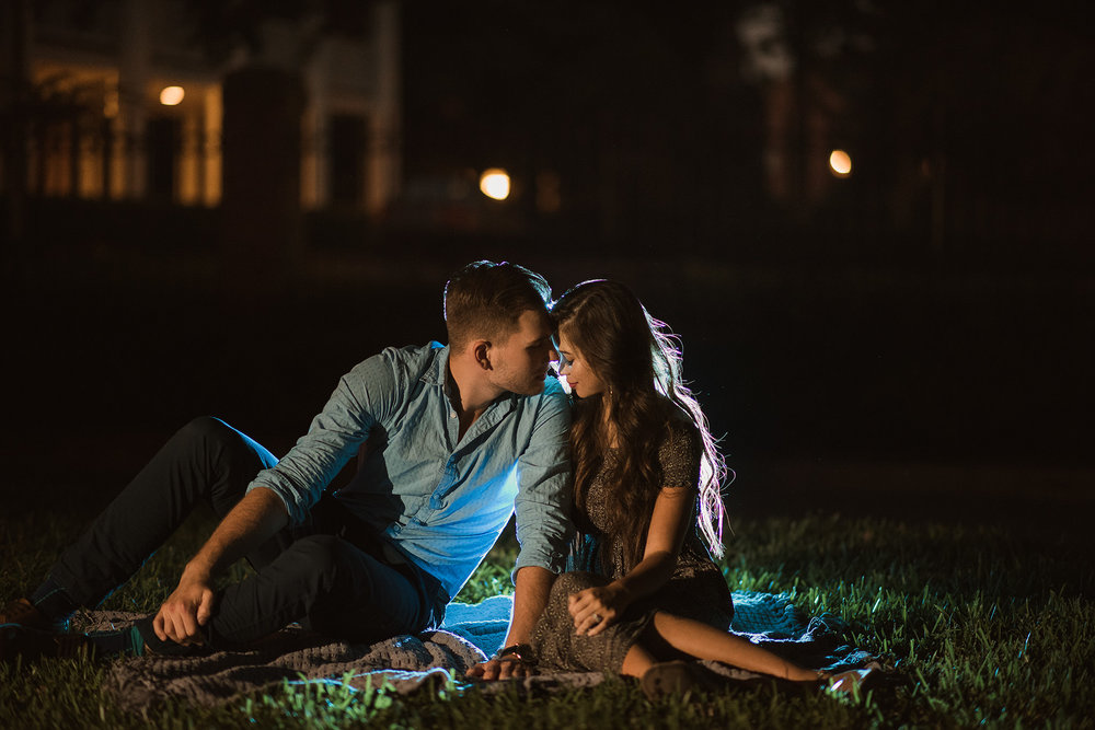houston-austin-romantic-destination-outdoor-engagement-photo-session-hermann-park-night-dark-steamy-moody