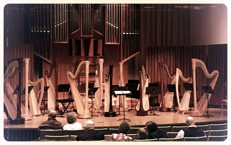 North Carolina Harp Ensemble's Spring Concert in Shirley Recital Hall at Salem College.
