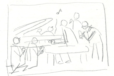 Option 4: Person playing piano, while students look on and take notes