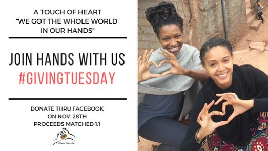 Join hands with us today on Tuesday, November 28th! It's #GivingTuesday, a global celebration, and I would like to ask you to participate in our online Facebook Fundraiser!  On #GivingTuesday, Facebook and the Bill & Melinda Gates Foundation will be matching up to $2 million of funds raised on Facebook for US nonprofits. Facebook is also waiving its fees for donations made to nonprofits on Facebook this #GivingTuesday!  This is BIG and we are a part it! In your year-end giving, please consider A Touch of Heart 501 c(3) and join me in our online #GivingTuesday Facebook campaign (link in bio) ❣️🌎🤝