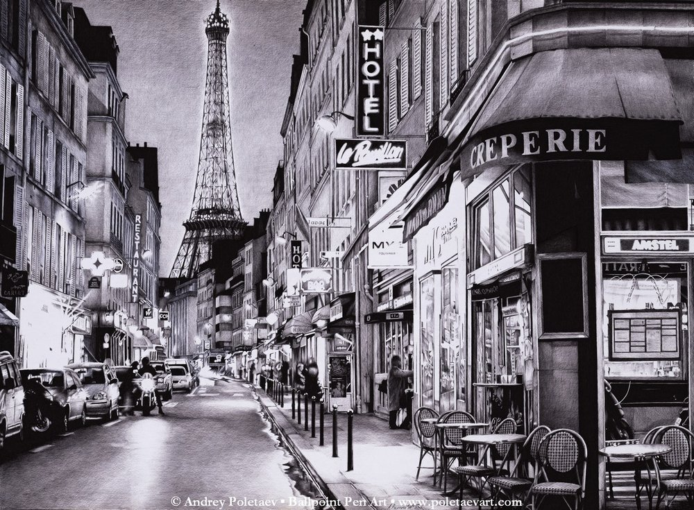 PoletaevArt-BallpointPen-EVENING IN PARIS.jpg