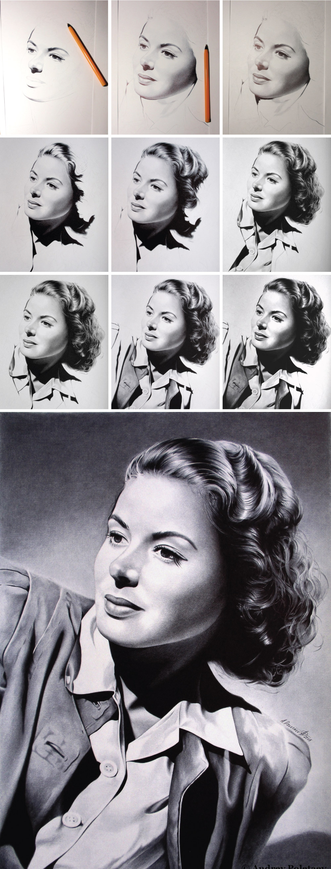 Ingrid Bergman - ballpoint pen on whatman