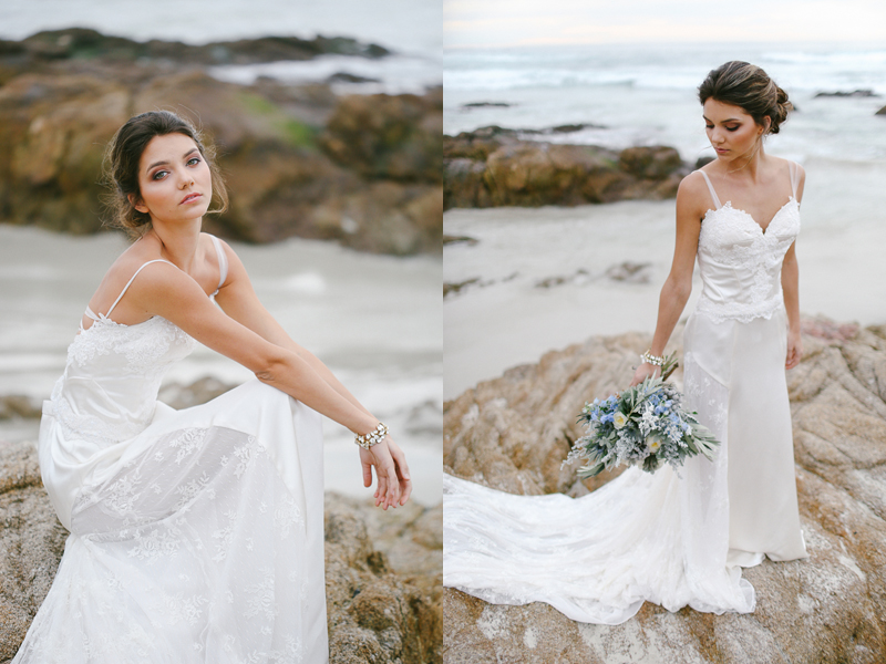 """""""Caribbean Dream"""" two piece satin and lace wedding dress. This style is both elegant yet versatile because the bridal corset can be worn with another skirt or pants to create a different look."""