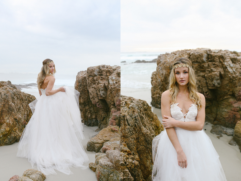 Modern boho style with gold head piece and tulle wedding gown.