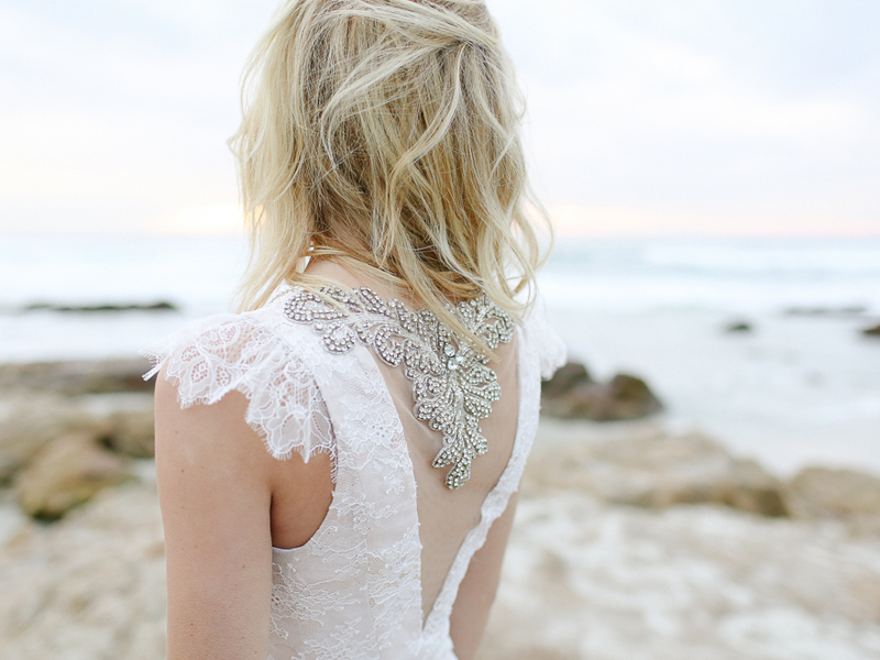"""Illusion crystal beaded back of the """"Portland"""" lace wedding gown."""