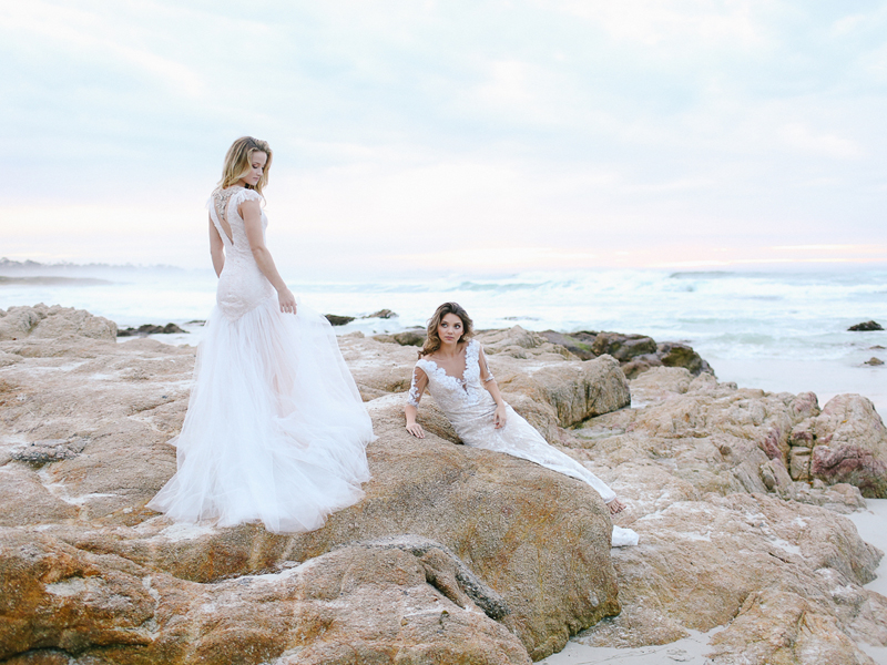 """Left: """"Portland"""" lace and tulle wedding gown // Right: """"Hollywood"""" beaded lace wedding gown"""