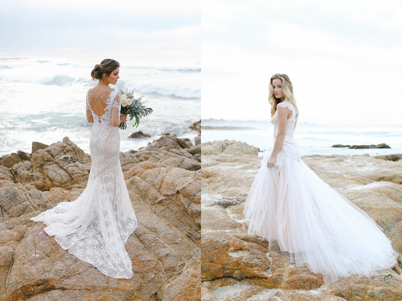 """Left: """"Hollywood"""" low back illusion sleeves wedding dress // Right: """"Portland"""" lace and tulle rose gold wedding dress"""