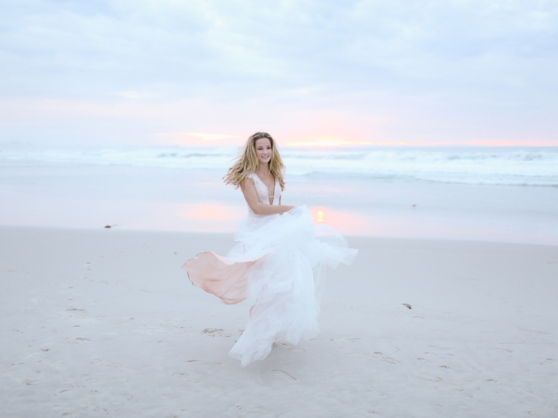"""Beautiful sunset at the Pacific Grove Asilomar Beach - who wouldn't want to twirl around on the sandy beach in the """"Porland"""" dress?"""