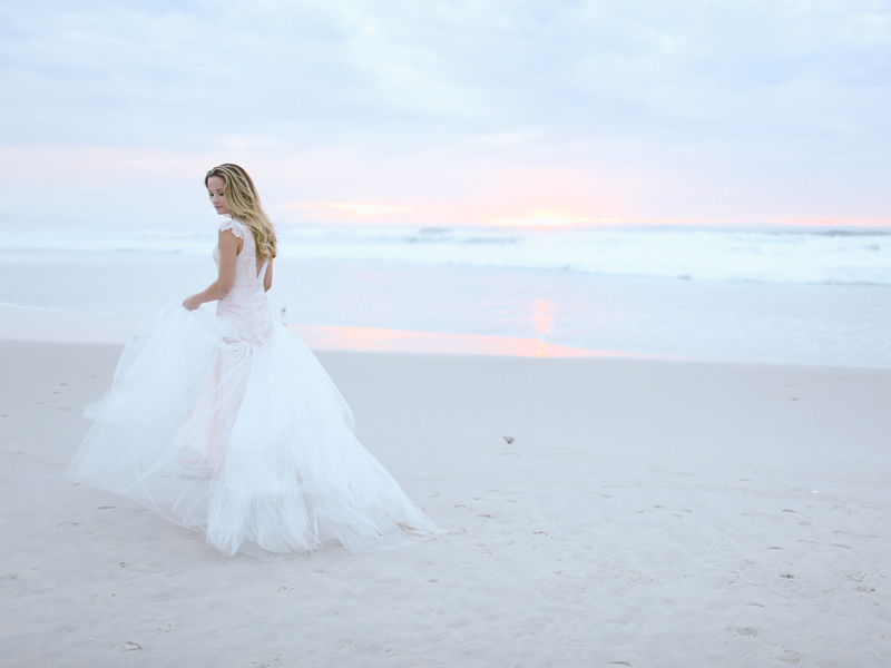 """The rose gold tone of the """"Portland"""" wedding dress matched perfectly against the amazing sunset."""