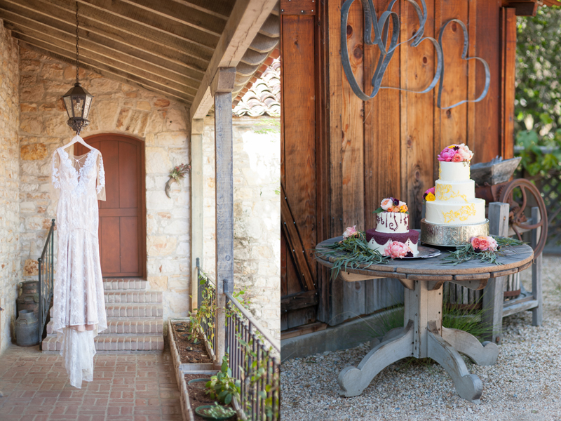 "Left: ""Hollywood"" wedding gown by  Ju.Lee Collection  // Right"" wedding cakes by  Buttercup Cakes & Farmhouse Frosting"