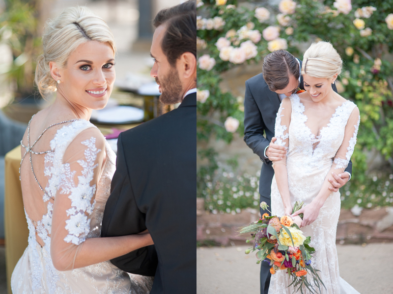 It's all about the details!  Wedding gown with illusion sleeves and neckline with an intricate removable back chain.