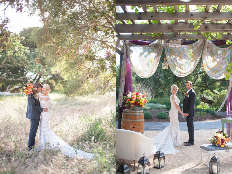 Love the use of lanterns, barrel, and drapery for the ceremony!