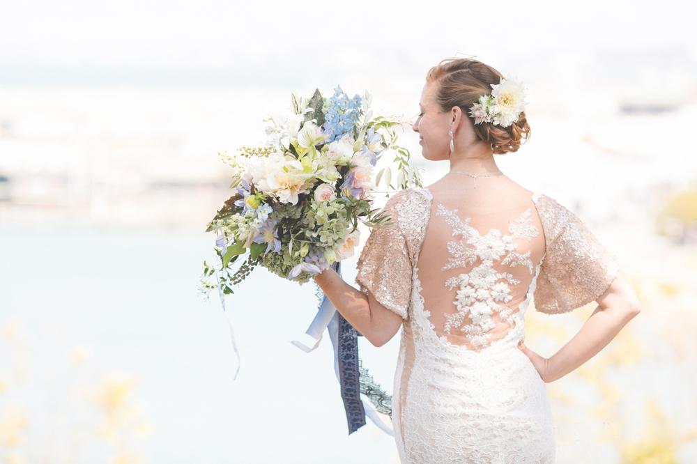 Custom designed illusion back lace and sequin wedding dress // photo Hazy Lane Studio