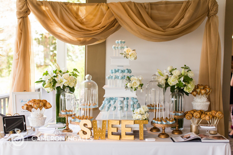 """The gold """"SWEET"""" sign says it all about this dessert table!"""
