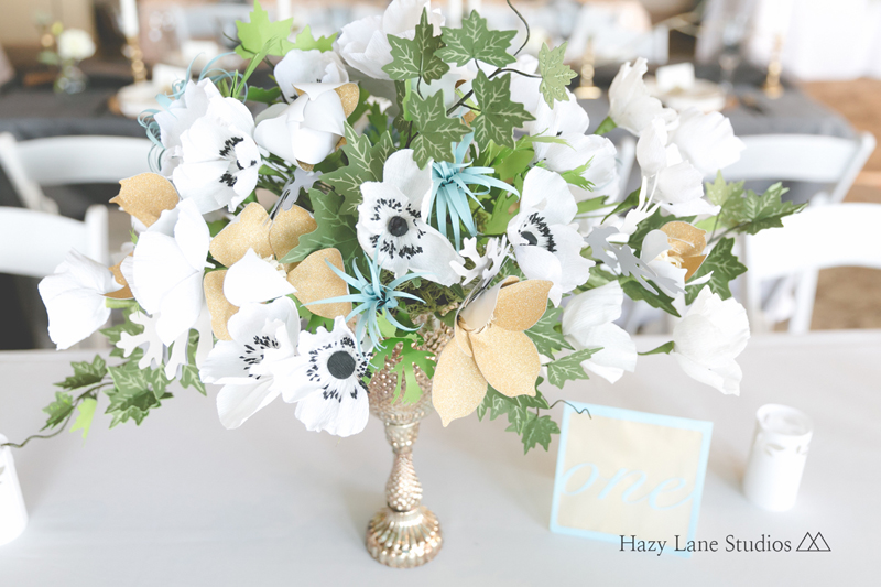 This center piece was made out of paper flowers! Don't they look so real?