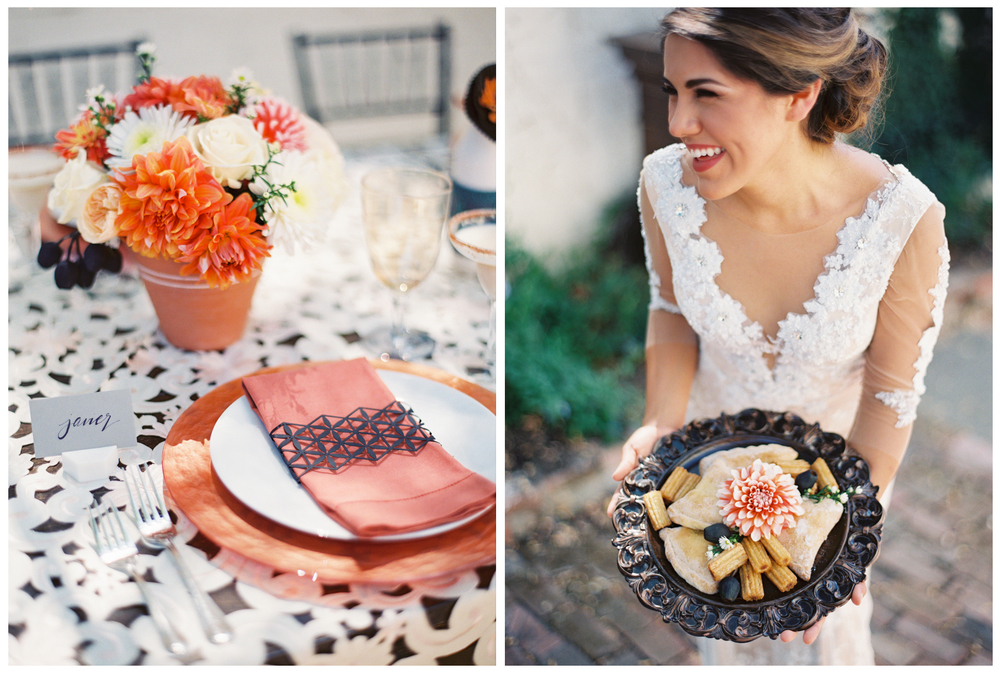 "The burnt orange and geometrical table clothe and napkin ""ring"" are edgy and modern."