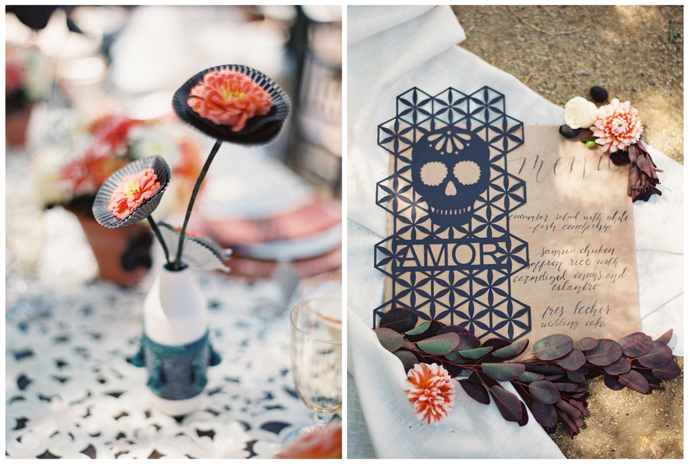 "The geometric patterns on the place setting and invitation design are so unique! And the shade of orange used made it less ""Halloweeny"""