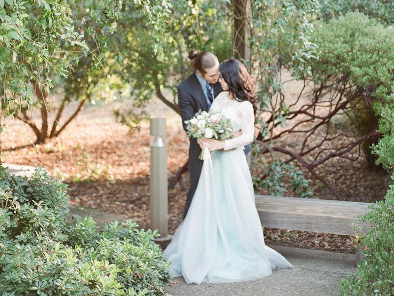 Intimate garden wedding dress style in San Jose
