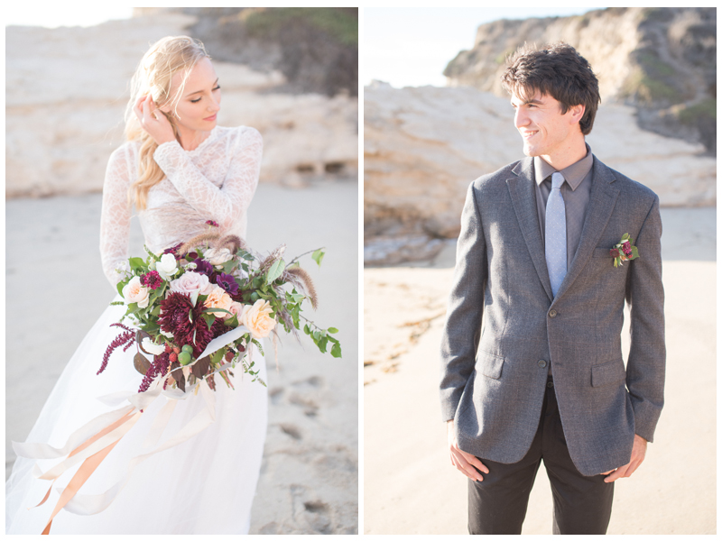 Bride and groom beach wedding style. Photo by Rahel Menig. Bride's attire by Ju.Lee Collection.