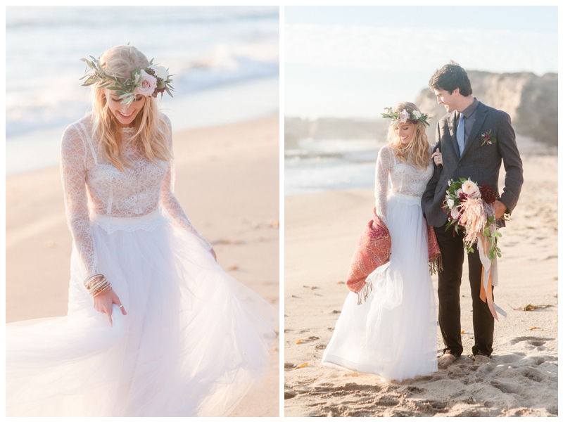 Boho beach wedding style. Photo by Andrea Rufener. Bridal two-piece dress by Ju.Lee Collection.