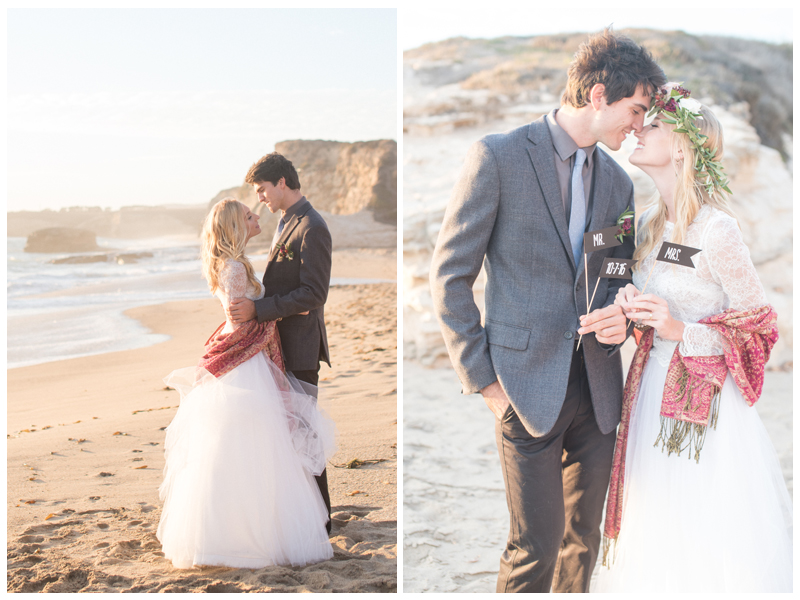 Romantic sunset beach wedding inspiration photographed by Rahel Menig. Bride's dress by Ju.Lee Collection.