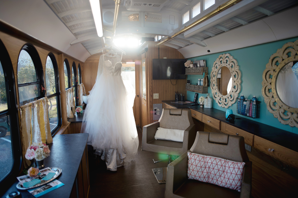 Inside of D'Railed Beauty Trolley - How fun it is to get your bridal parties ready for the wedding day!