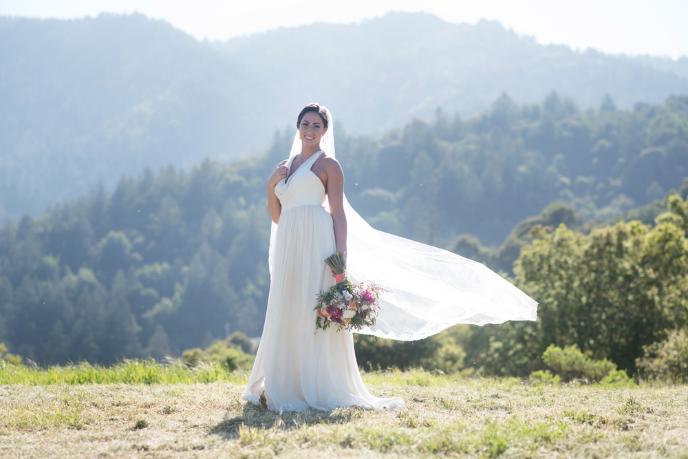 "Mountain view scenery at the  Mountain Winery  featuring ""Maui"" wedding dress and veil by  Ju.Lee Collection"