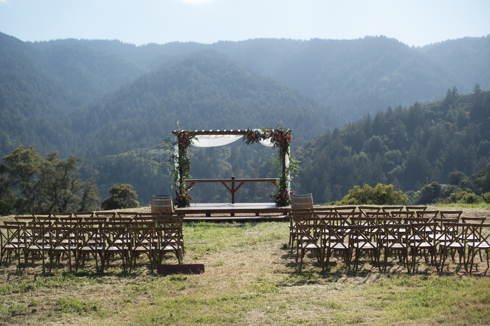 Beautiful scenic outdoor ceremony space at the Meadow at Mountain Winery