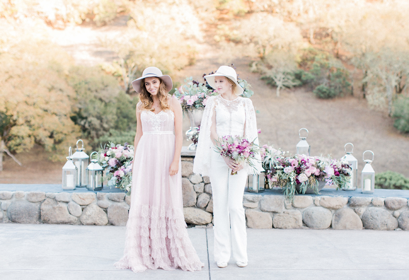 "Two distinctive bridal styles for edgy rustic chic wedding style. (LEFT) ""Malibu"" tulle ruffle dress (RIGHT) ""Soulmate"" lace caplet 