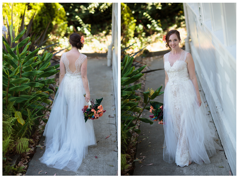Two piece custom handmade lace wedding gown with illusion front and back with removable tulle skirt by Ju.Lee Collection