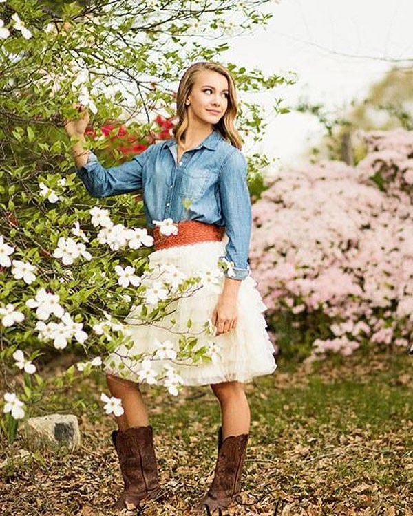 """{ Southern Charm } Ruffle skirt + denim shirt + cowboy boots - yes please! 💯 We love it when our customers get stylish and creative ❤️❤️❤️ #EndlessLoveBridalCollection #juleechic ……………………………………………………………………………. { SKIRT } """"Sweetheart"""" // 📸 Gena Murphy Photography"""
